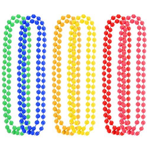 6 Stück 7 mm Leuchtstoff Neon Kunststoff Bunte Perlen Halsketten für 70 s 80 s Thema Prom Party (Kunststoff-perlenketten)