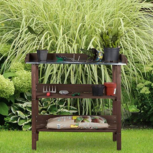 Relaxdays Pflanztisch, Gärtnertisch mit 3 Ebenen, Gewächshaus, Garten, Balkon & Terrasse, Holz, 86x92x42 cm, Dunkelbraun
