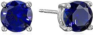 Amazon Essentials - Orecchini a perno in argento Sterling con pietra portafortuna a taglio rotondo