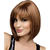 Lurrose Donna Bob Wig Synthetic Natural Looking Resualable Brown Short Straight Party Wig Cosplay Wig Hair Accessori…