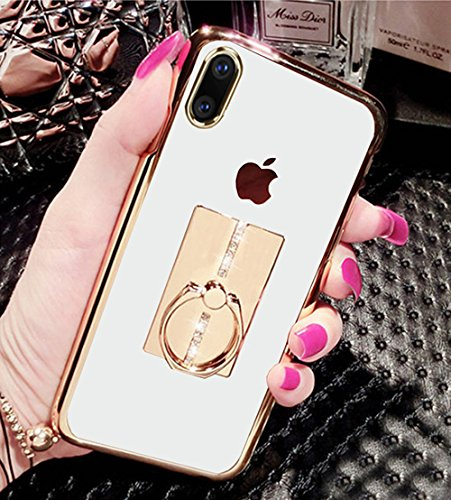 iPhone X Hülle, Weiches Flexibles Silikon Gold Bumper Sparkle Bling Strass Diamant 360 Grad drehbar Finger Ring Kickstand Grip/Holder Crystal Clear Cover für Apple iPhone X (5,8 Zoll) Crystal Case Cover Faceplate