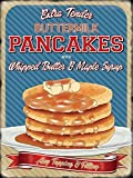Buttermilk Pancakes with whipped butter and maple syrup. Any topping and filling. American / Canadian breakfast. Retro vintage old design. Advert. 50's. Ideal for house, home, bar, cafe, kitchen, shop or pub, B&B or hotel. Small Metal/Steel Wall Sign