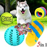 Ecoolbuy 5 in 1 Pet Toy super set 24,1 cm oversize tennis Ball + feeder Ball + suono peluche pantofola + corda + Circle Thew giocattolo per cucciolo per Cat Dog Clean Teeth training Tool (5 in1)