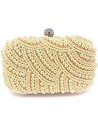 Women Pearl Clutch Rhinestone Purse Clutch Wedding Party Evening Bag Champagne Pink By Good_Goods