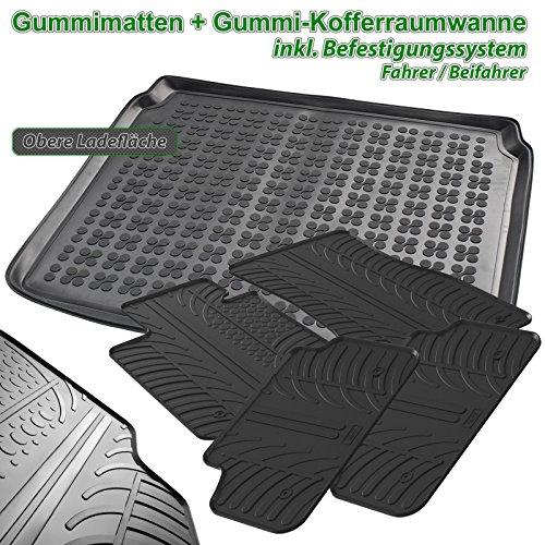 AME Set - Auto-Gummimatten Fußmatten, Geruch-vermintert und passgenau mit verbauten Befestigungen + Gummi-Kofferraumwanne, Schutzmatte für den Laderaum