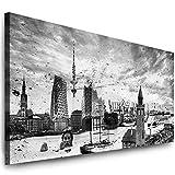 Julia-Art Leinwandbilder - 150 mal 60 cm Bild Hamburg Skyline, Stadt Wandbilder sind fertig gerahmt - verschiedene Motive - Kunstdrucke XXL Panorama Ha-01-14