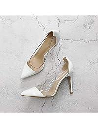 b4d2be593 Yukun zapatos de tacón alto Tacones de Aguja Transparentes de Verano para  Mujer de Charol