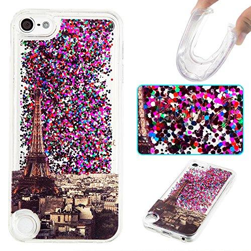Ooboom® iPhone 5SE Hülle TPU Silikon Bumper Schutzhülle Handy Tasche Case Cover mit Funkeln Glänzend Bling Glitter - Gold Blätter Eiffelturm