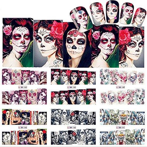 NICOLE DIARY 12 Blätter Nail Art Wasser Aufkleber Halloween Thema Sexy Skull Maniküre Nail Art Transfer Aufkleber (12 Muster (Transfers Nail Halloween)