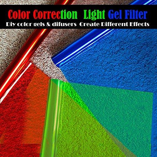 Selens 9Pack 40,1x 50cm/40x 50cm Gels Farbe Filter Papier Correction Gel Beleuchtung Filter für Foto Studio Light Rot Head Light Strobe Taschenlampe mit 10Holz Clips Rot, Red+Yellow+Blue Strobe Light Heads