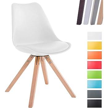 CLP Design Retro Stuhl Toulouse Square mit Kunstlederbezug und Sitzpolster   Kunstoff Lehnstuhl mit Holzgestell Weiß, Gestellfarbe: Natura, Beinform: