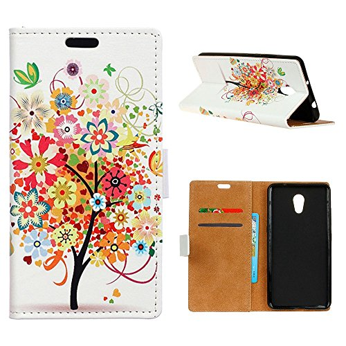 """MOONCASE Meizu M5s/Meizu Meilan 5s Custodia, [Colorful Pattern] Flip Pelle Cover Durevole TPU Antiurto Supporto Protezione Case per Meizu M5s 5.2"""" Tree"""