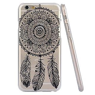 jinhoo (TM) Kunststoff Mandala Dreamcatcher Henna weiß schwarz Floral Paisley Tribal Muster Blumen Case & Cover für Apple iPhone 611,9cm iphone6plus 14cm, plastik, Dream Catcher Feather Campanula (Black), for Apple iPhone6 5.5 Inches