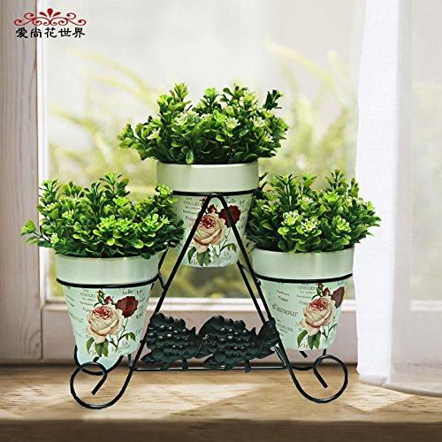 Mesmj Künstliche Blumen Mini Topfpflanzen Wedding Bouquets Balkon Bügeleisen Kunst Blume Racks, Weiß Blau Blumen 30 * 25 cm (Display-racks, Großhandel)