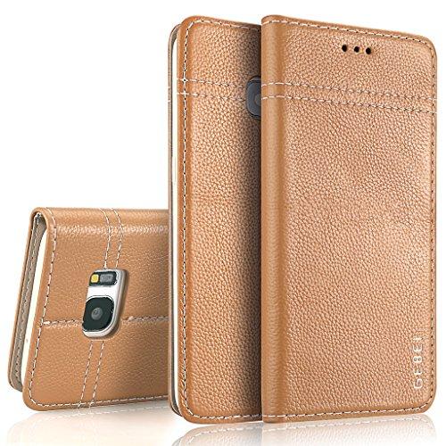 SJS Samsung Galaxy S7 Hülle,GEBEI Serie,luxuriös Echtes Leder Klapphandy Geldbeutel Halter magnetische Adsorption Einfügen von Karte Schutzhülle für Samsung Galaxy S7 (Khaki)