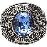 Amesii, anello da donna o uomo, stile punk, in titanio, acciaio e strass