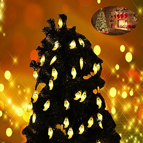 LEDGLE Halloween Lichterkette 6M Solar Halloween Dekoration Licht, Warmes Weiß, 8 Beleuchtungsmodi, IP65 wasserdicht