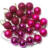Bola de adorno - SODIAL(R) 24 piezas XMAS bolas brillas elegantes de adorno de decoracion de arbol chucherias de decoracion de Navidad de fiesta casa de color Rosa roja