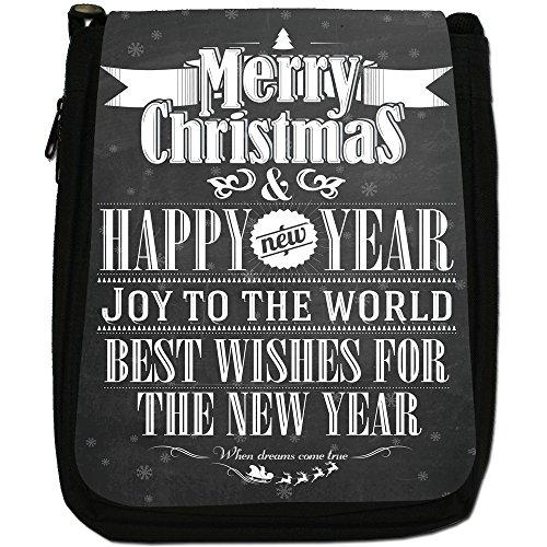 Nero con scritta Natale in stile Vintage, con tracolla, in tela, colore: nero, taglia: M Best Wishes Christmas New Year