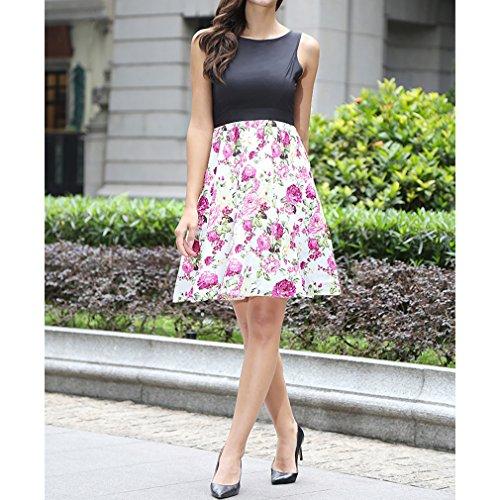 Honghu Damen Slim Fit ärmellos Blumen-Drucken Knielang Taille Plissee Party Printkleider Weiß