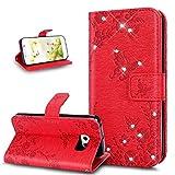 Cover Galaxy S6 Edge,Custodia Galaxy S6 Edge,Bling scintillio lucido Goffratura rilievo fiore farfalla Flip Cover Portafoglio PU Pelle Protective Wallet Stand Custodia Cover per Galaxy S6 Edge,rosso