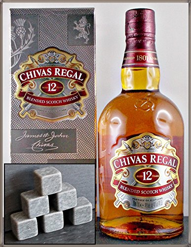 Chivas Regal 12 Jahre Scotch Whisky mit 6 Original Kühlsteinen von Rosenstein & Söhne im Stoffbeutel, kostenloser Versand