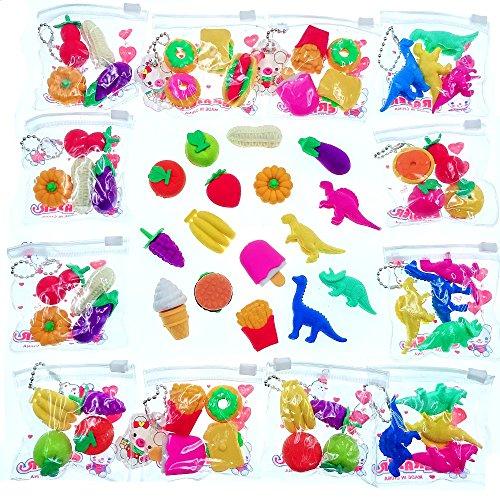 JZK 16 Taschen Gemüse Kuchen Obst Dinosaurier Kinder Radiergummi Radierer, Spielzeug Gastgeschenk Geschenke für Geburtstag Party Festival neues Jahr Weihnachten