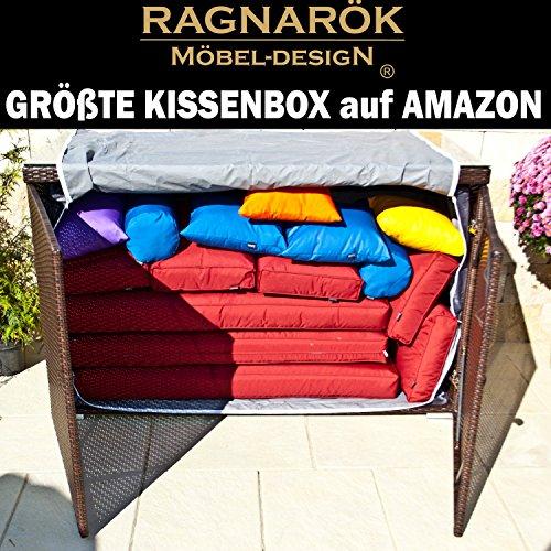 Ragnarök-Möbeldesign XXXL PolyRattan Kissenbox GRÖßTE KISSENBOX auf Amazon - DEUTSCHE Marke -...
