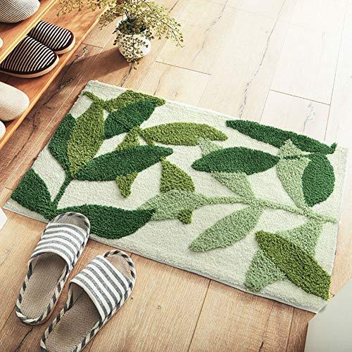 Alfombrilla para puerta, Patrón de hojas verdes Alfombra Alfombras interiores Alfombra Puerta principal...