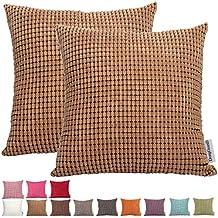 Comoco® -2pcs color sólido grandes maíz grosor de rayas pana funda para cojín decorativo para sofá disponible en 15colores y 7tamaños, marrón claro, 40 x 40 cm
