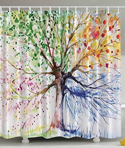 Renfengchui Vier Jahreszeiten Baum Dusche Vorhang Türmatte Beere Grün Rot Gelb Marine Braun Wasserdicht Polyester Stoff Duschhaken Enthalten 90 X 180 cm -