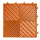RaceDeck Free-Flow Open Rib Design, Durable Interlocking Modular Garage Flooring Tile (24 Pack), Orange