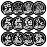 12 schwarze wetterfeste Kräuterschilder für deinen Garten aus Kunststoff, Kreide / Schiefer Optik, mit transparenten Acrylglasstäben, einfacher Zusammenbau, Gartenschilder, Pflanzenstecker, Ø 8cm Kreis rund