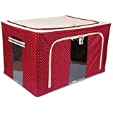 Best Jumbo Saree/Lehenga/Woolens Storage Box with Steel Frames -RED Dotted 88L