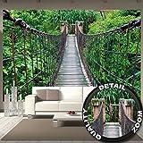 great-art Fototapete Regenwald Hängebrücke - 336 x 238 cm 8-Teilige Tapete Natur Wandtapete Wandbild