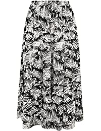 1ee6d364b2 Yours Clothing Women's Plus Size Leaf Print Tiered Maxi Skirt