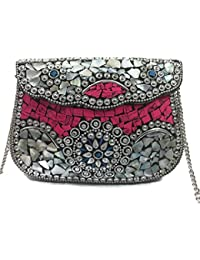 Pink Sling Bag Indian Ethnic Clutches For Women Party Bag For Women Wedding Box Clutch For Women Shell Clutch...