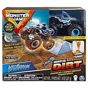 Monster Jam 6045198 Juego de iniciación, con 227 g de Suciedad monstruosa y auténtico camión Fundido a presión a Escala 1:64 (los Estilos varían), Colores Variados