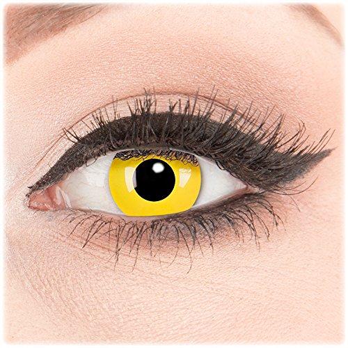 (Farbige Kontaktlinsen zu Fasching Karneval Halloween 1 Paar weiße Crazy Fun 'Yellow' kontaktlinsen mit Behälter - Topqualität von 'Glamlens' mit Stärke -1,00)