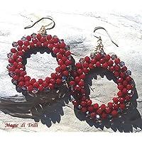 Magie di Trilli - Orecchini pendenti cristalli rossi artigianali - Idea regalo