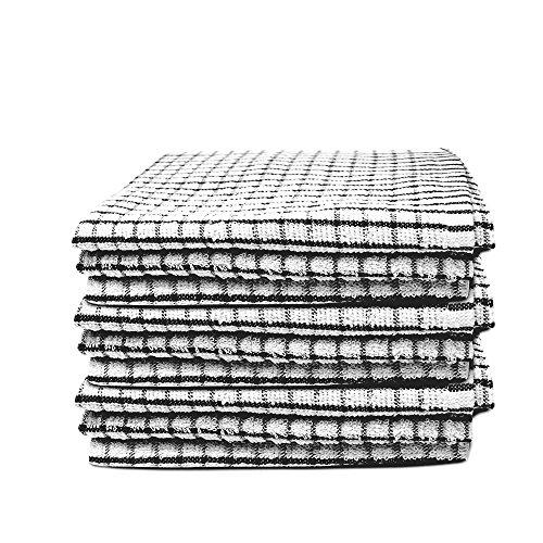 Xelay Dicke Frottee-Geschirrtücher, weich, aus 100 % ägyptischer Baumwolle, Mehrfarbig, 35 x 60cm, verfügbare Stückzahlen pro Packung: 3, 4, 5, 6, 10, 15 Stück, Black Pack of 3 (Small Check), 15.5