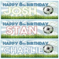 2 Personalised Birthday Banners - Football Design - Available in 3 Colours (Approx 3ft x 1ft) (Blue)