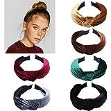 Fluwelen haarband voor vrouwen - 6 stuks knoop tulband hoofdband hoofdbanden brede effen hoofdband haaraccessoires voor vrouw
