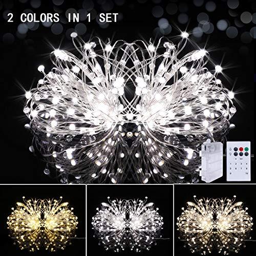 LED Lichterketten Batteriebetrieb mit Fernbedienung Timer, Doppelte Farbe Wasserfest 12 Modi 10M 100 LED Firefly Lichter Silberdraht für Party, Garten, Hochzeit, Schlafzimmer Innen und außen Deko -