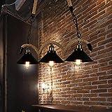 OOFAY LIGHT® Retro 3 Köpfe Hanfseil Pendelleuchte Hängeleuchte, Kreativ Decke Kronleuchter Vintage Leuchter Passend zu zum Cafe Bar Restaurant Dekoration Beleuchtung