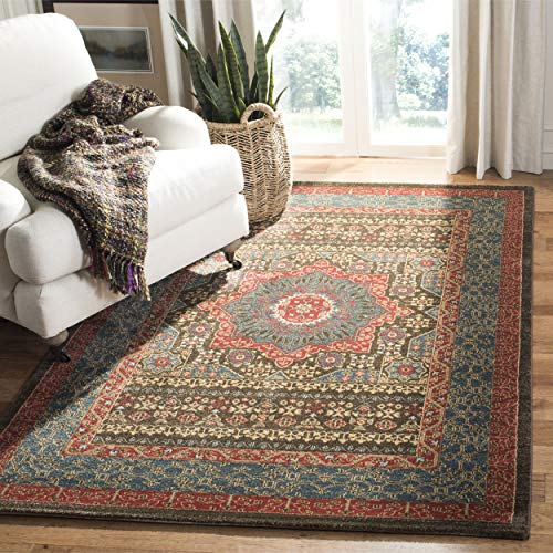 Safavieh Persischer Traditioneller Teppich, MAH620, Gewebter Polypropylen, Marineblau/Rot, 120 x 180 cm -