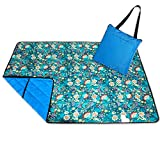 Roebury Picnic Blanket & Beach Blanket - Large Oversized Water-Resistant Sandproof Mat for Outdoor Travel or Camping Rug Folds into a compact Tote Bag [Blue Bell Flowers - Blue Back]