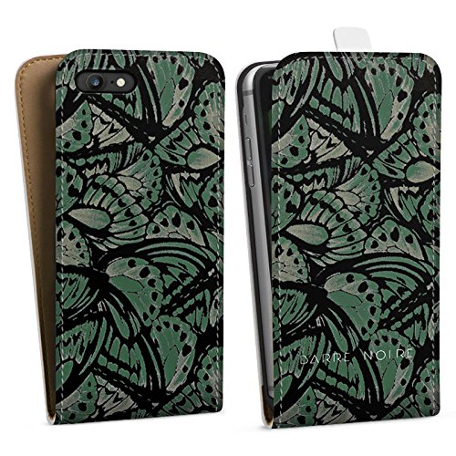 Apple iPhone X Silikon Hülle Case Schutzhülle BARRE NOIRE Mode Schmetterling Downflip Tasche weiß