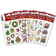 Herma 15502 Weihnachtsmann u. Engel Aufkleber, 408 Sticker mit verschiedenen Motiven, Weihnachtssticker Deko bunt
