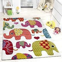 Alfombra Infantil - Diseño Elefantes En Multicolor Crema Gris Rosa, Grösse:80x150 cm